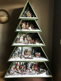 Fabulous Mini Christmas Tree Ideas Ur Break - Family Inspiration Happy New Year Christmas Tree Village Display, Wooden Christmas Trees, Mini Christmas Tree, Christmas Villages, Winter Christmas, Christmas Time, Christmas Projects, Holiday Crafts, Christmas Towels