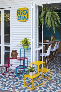 Vibrant colors and geometric pattern add a pop to this hostel in Lagoa Rodrigo de Freitas, Rio de Janeiro, Brazil