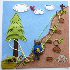 Quiet book Teddy the climber hide a bird (maybe owl) behind the tree bit that comes off - snaps to hold in place