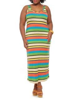 Plus Size Striped Bodycon Maxi Dress