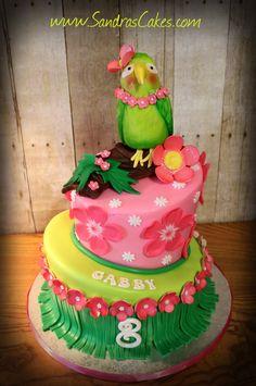 Fun luau birthday cake