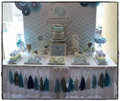Hudson's Chevron and Blue Elephant Christening - Chevron and Blue Elephant
