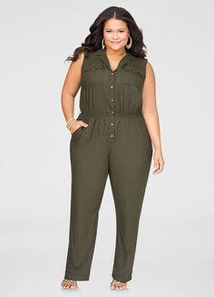 Military Straight Leg Jumpsuit-Plus Size Dresses-Ashley Plus Size Girls, Plus Size Women, Curvy Women Fashion, Plus Size Fashion, Curvy Outfits, Trendy Outfits, Plus Size Dresses, Plus Size Outfits, Plus Size Inspiration