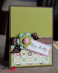 "Pretty ""Happy Birthday"" Card...with a cute tag and dimensional flower.  Picture only for inspiration."