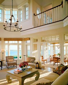 Two story windows in an open plan living room...