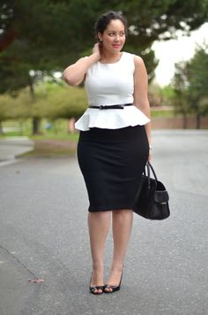 Black and white. So Chic. Curvy girls can rock a peplum!