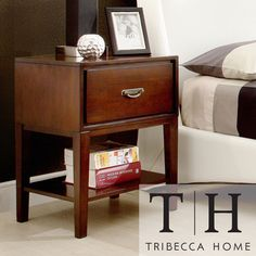@Overstock.com - TRIBECCA HOME Neo Rectangle Espresso Accent Table Nightstand - Dress up your bedside with this espresso accent table, which features stylish and durable French dovetailed drawer construction. The single drawer slides out smoothly and is large enough to store books and magazines, and there's also a shelf underneath.  http://www.overstock.com/Home-Garden/TRIBECCA-HOME-Neo-Rectangle-Espresso-Accent-Table-Nightstand/7304849/product.html?CID=214117 $159.95