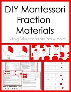 Roundup of DIY Montessori fraction printables and presentation ideas. Post includes lots of free printables as well as the  Montessori Monday permanent linky collection.