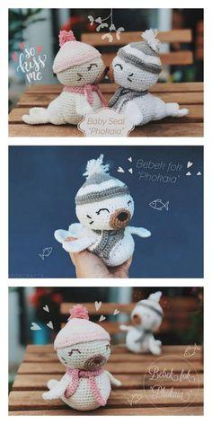 Amigurumi Baby Seal Free Pattern – Amigurumi Free Patterns And Tutorials Animal Knitting Patterns, Stuffed Animal Patterns, Crochet Patterns Amigurumi, Amigurumi Doll, Cute Crochet, Crochet Crafts, Crochet Toys, Baby Seal, Crochet Animals