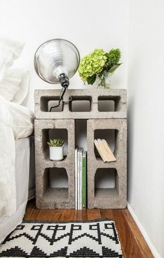 Simple bedside table made from breeze blocks. Great for that industrial look.