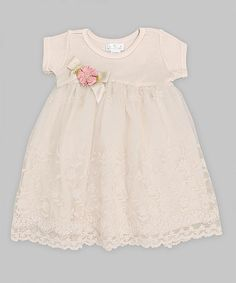 Look what I found on #zulily! Ivory Lace Flower Babydoll Dress - Infant by Truffles Kids #zulilyfinds