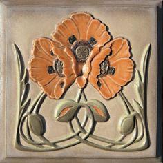 Lewellen Tiles: Art Nouveau Series Porcelain Tiles: Poppy