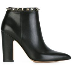 Valentino Garavani 'Rockstud' ankle boots (81.870 RUB) ❤ liked on Polyvore featuring shoes, boots, ankle booties, black, leather ankle boots, leather booties, black bootie, high heel booties and black boots