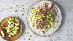 Image: Jerk salmon 'grain' bowl with pineapple souse
