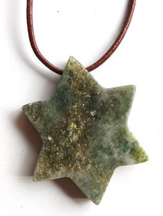 Your place to buy and sell all things handmade Connemara, Leather Necklace, Star Shape, Marble, My Etsy Shop, Shapes, Pendant Necklace, Stone, Pretty
