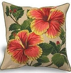Yellow & Red Hibiscus Linen Pillow: H x W . Decorate your home…