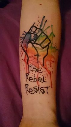 My tattoo. Otep lyrics and supporting gay rights. Gay Pride Tattoos, Gay Tattoo, Equality Tattoos, Taboo Tattoo, Future Tattoos, New Tattoos, Body Art Tattoos, Tatoos, Revolution Tattoo