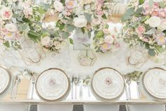 In love with the soft florals at this table setting with gold geometric decor and fur! NORDIC LOVE: MARBLE & GEOMETRIC WEDDING THEME www.elegantwedding.ca