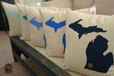 Petoskey Pillows - Pure Michigan  Each pillow contains an actual piece of the great state of Michigan placed over your favorite part of the state. Visit MichiganPillows.com to join in on the fun.