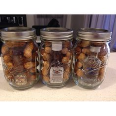 Mason jar gift for men! Grab some peanuts still in their shells and a mini bottle of their fave liquor! Easy :)