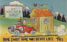 Vintage linen collectable travel trailer humor post card