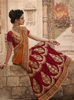 Maroon & Orange Lehnga Choli for Special Occasions . shop at - www.gravity-fashion.com/maroon-orange-lehnga-choli-for-special-occasions.html