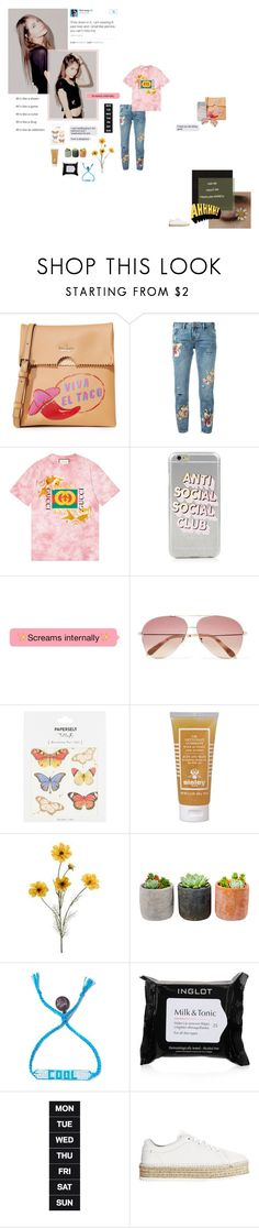 """""""Rose colored boy I hear you making all that noise about the world you want to see."""" by curious-and-young ❤ liked on Polyvore featuring GET LOST, Kate Spade, OneTeaspoon, Gucci, Anti Social Social Club, Victoria Beckham, Paperself, Sisley, Shop Succulents and Venessa Arizaga"""