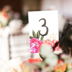 Table numbers for your bright and colorful wedding Table Seating Chart, Showcase Design, Table Numbers, Event Decor, Wedding Colors, Place Card Holders, Events, Bright, Colorful