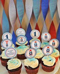 Red/Blue Train Party with two-tone twisted crepe paper streamers backdrop