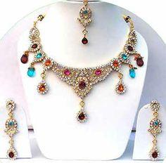 Gold Diamond Bollywood Jewelry Set JVS-26 $79.99