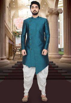 Solid Color Art Silk Asymmetric Sherwani in Teal Blue Wedding Kurta For Men, Wedding Dresses Men Indian, Wedding Dress Men, Wedding Sherwani, Indian Fashion Dresses, Wedding Men, Wedding Outfits For Men, Wedding Ideas, Punjabi Wedding