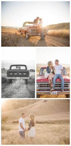 I love these photos! My favorite is the one in black and white where they are kissing in the truck! - 10 year anniversary pic idea! #country #countrythang #countryengagementphoto #countrycouple
