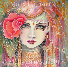 Gypsy Rose  Beautiful Woman Fantasy Portrait  by MollyHarrisonArt