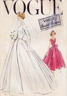 Vintage 1950s Wedding Pattern Vogue S4747 Special Design Wedding Dress and Tea Length Bridesmaid Dress