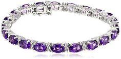 Sterling Silver Oval-Cut Amethyst with Genuine White Diamonds Bracelet, 7.25""