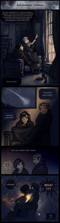 Cute. Astronomy Lesson. Johnlock. Fanart. Click for artist blog.