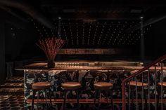 MAD Bars House in Lviv, Ukraine by YOD D|Bar Bauhaus Chair, Cozy Bar, Open Fireplace, Big Kitchen, Dim Lighting, Bar Lounge, Restaurant Interior Design, Design Lab, Wooden Bar