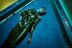 Paula Baniotaite wears silver visors, metallic dresses and cutting-edge silhouettes with futuristic looks for Photoshoot