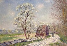 Alfred Sisley – Landscape with Blooming Trees, 1889 oil on canvas, 60 x 42 cm Private collection Impressionist Landscape, Post Impressionism, Landscape Paintings, Landscapes, Impressionist Paintings, Oil Paintings, Pierre Auguste Renoir, Claude Monet, Charles Gleyre