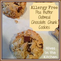 Hives in the Kitchen: Allergy Free Pea Butter Oatmeal Chocolate Chunk Cookies