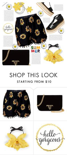 """""""Printed Short : Flowers"""" by sweetnovember66 ❤ liked on Polyvore featuring H&M, Prada and Gucci"""