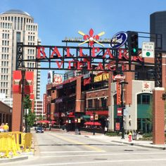 East Entrance to Ballpark Village outside Busch Stadium home of the St. Louis Baseball Cardinals