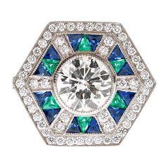 Diamond, Emerald, Sapphire  Platinum Fine Ring