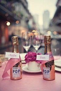 mini champagne bottle favors at bridal party table? Mini Champagne Bottles, Champagne Party, Mini Bottles, Wedding Favours, Wedding Centerpieces, Wedding Ideas, Centerpiece Ideas, Wedding Decor, Wedding Reception