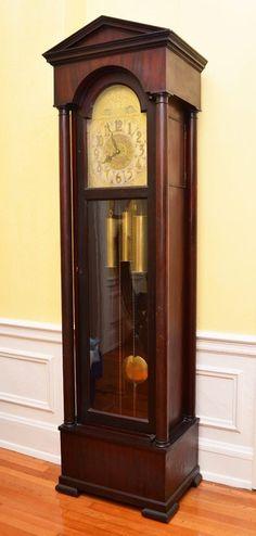 German Triple Weight Mahogany Grandfather Clock Lot 1156 Antique Clocks Old