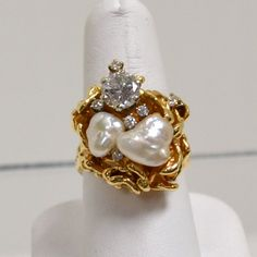 14kyg Diamond & Baroque Pearl ring 1.20ct