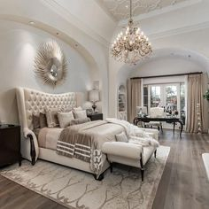 Luxury House Interior Design Tips And Inspiration Master Bedroom Design, Dream Bedroom, Home Bedroom, Beds Master Bedroom, Luxury Master Bedroom, Bedroom Ideas Master For Couples, Classy Bedroom Ideas, Master Suite, Master Bedroom Chandelier