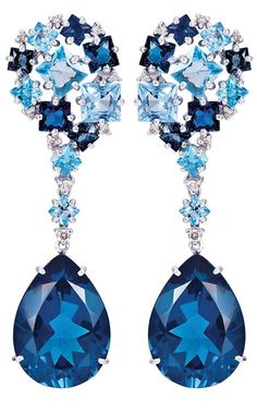 Topaz and Diamond Earrings.