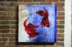 La danse des poisson 24''x24'' peinture technique mixte à l'acrylique sur canevas