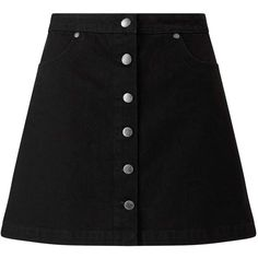 Miss Selfridge Black Button Denim Skirt ($49) ❤ liked on Polyvore featuring skirts, mini skirts, black, miss selfridge, denim mini skirt, button-front denim skirts, mini skirt and button skirt